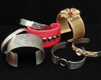 Cuff Bracelets Vintage Lot of 7