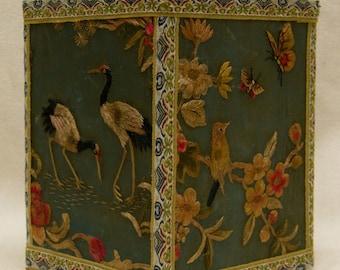 Antique Unique Squared Jar w. Fine Bird & Floral Threaded Designed Fabric