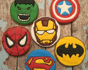 Super Hero custom decorated cookies - 1 Dozen