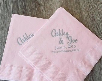 Beverage Napkins (shown in Baby Pink with Silver font)