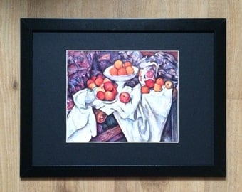 """Framed and Mounted Still Life with Apples and Oranges Print by Paul Cezanne 16"""" x 12"""""""