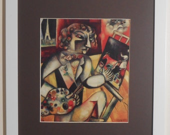"""Mounted and Framed - Self Portrait with Seven Fingers Print by Marc Chagall - 16"""" x 12"""""""