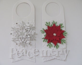 Christmas Wine Bottle Tags, Snowflake Gift Tags, Christmas Gift Tags, Set of 2, Wine Bottle Gift Tags, Poinsettia Gift Tags, Christmas Tags