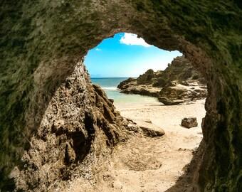 "Beach Art, Hawaiian Art, Cave Photography, Hawaii Cave, Oahu, Halona Beach Cove, Hawaii Wall Decor, Aqua, Ocean Wall Art - ""Cave"""