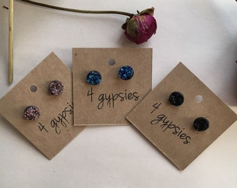 Drusy studs, two for 15