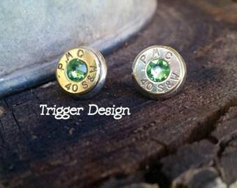 40 Caliber Bullet Casing Post Earrings- Light Green