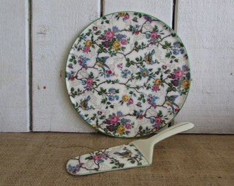 Lorna Doone Chintz Cake Plate with Server, Vintage Lorna Doone Cake Plate with Server, Royal Tudor Ware Cake Plate w Server, Royal Tudor