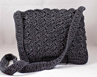 Gray Crossbody Purse, Crossbody Bag, Gray Crochet Purse, Gray Shoulder Bag, Crochet Handbag, Evening Bag, Zipper Purse, Shoulder Bag