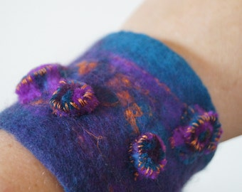 Blue, purple and orange felt bracelet