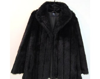 20% OFF! Glamorous Vintage Boho 80s 90s Dark Brown Faux Fur Coat