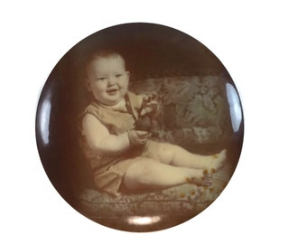 "Victorian Celluloid Button of Baby - 6"" Sepia Photo Portrait - Baby Portrait"