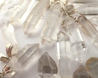 ONE Quartz crystal pendant with sterling silver bail - 22-29mm x 7-10mm / 1.5-3gm each chosen at random