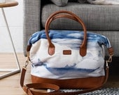 Skyline Bag - Printed Cotton Tote Bag with Leather Details