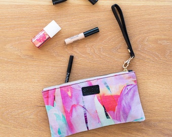Peppy - Digitally Printed Cotton Pouch with Leather Details