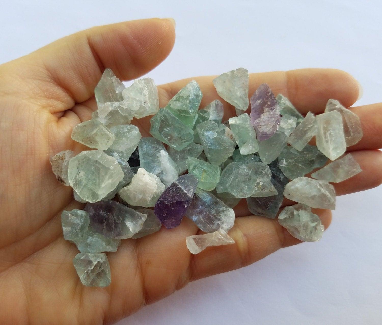 Semi Precious Gemstone Raw Stone : Fluorite crystal stones raw mineral jewelry