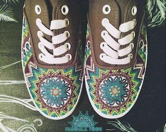Mandala Painted Sneakers - Size 7
