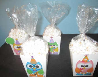 Owl Popcorn Boxes(20)owl party favor boxes,owl party,owl birthday,owl party favors,owl decorations,owl party bags,owl party tags