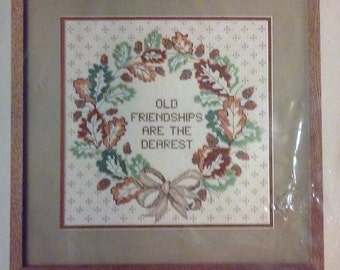 """On Sale, Candamar Designs, Something Special, Counted Cross Stitch Kit, """"Fall Wreath Picture"""", Kit #50191, Old Friendships are Dear, Vintage"""