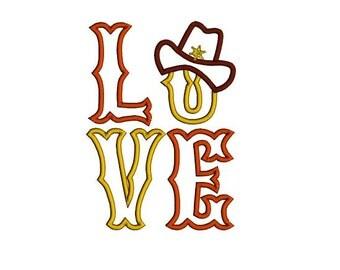 Western Love applique machine embroidery design. Western hat applique. LOVE applique design.