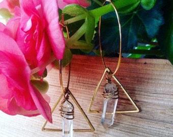 Geometric Crystal Dangle Hoop Earrings