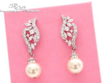 Wedding pearl earrings, White Ivory Pearl bridal earrings, Bridal pearl jewelry, Wedding jewelry pearl, Pearl drop dangle arrings 1366