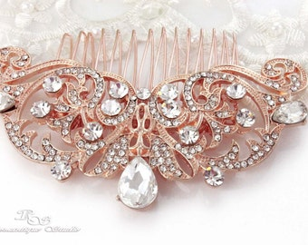 ROSE GOLD Wedding hair comb Bridal rhinestone hair comb Wedding comb vintage headpiece comb Rose gold hair comb Hair Accessories 5167RG