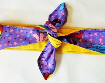 Reversible My Little Pony Head Scarf - Dolly Bow - Rainbow Dash Hair Tie - Rockabilly - Child Head Band