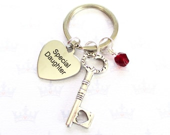 Special Daughter keyring - Birthstone keychain - Gift for daughter - Daughter keychain - Heart key keyring - Custom daughter gift - Etsy UK