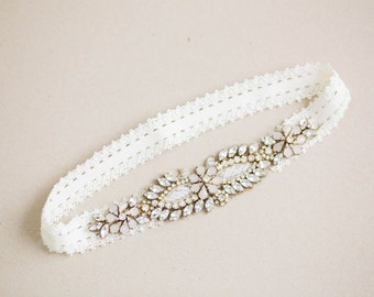 Gold and Opal Bridal Garter Set - Style R65 (Made to Order)