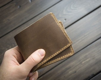 Traditional Leather Wallet 6 Card, Mens Leather, Bifold Wallet, Minimal Leather Wallet, Personalized Monogram Custom - Driftwood