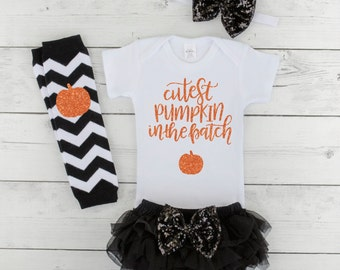 Baby Girl Halloween Outfit Cutest Pumpkin in the Patch Baby First Halloween Outfit Newborn Halloween Costume Girl Baby Halloween H028S
