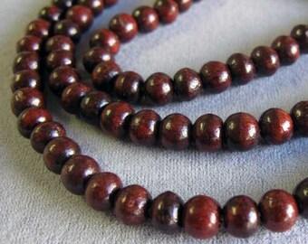 100 Dark Red Wood Beads, 8 mm Rosewood Beads