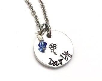 Hand Stamped Name Necklace with 1 Swarovski birthstone