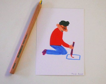 Card mailing 'woman with a pencil'