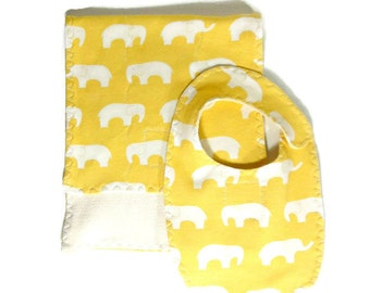 Baby gift under 20, newborn baby gift, burp cloth and bib, elephant baby gift, organic gift set, french terry bib, french terry burpie