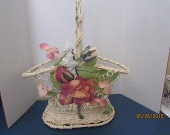 cream wire and wicker flower girl basket or card holder basket chicken wire basket