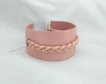 Glitter leather Cuff Bracelet and suede strap