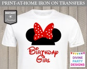 INSTANT DOWNLOAD Print at Home Red Girl Mouse Birthday Girl Iron On Transfer / Printable / T-shirt / Party / Item #2315