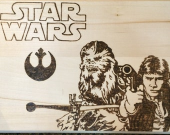Star Wars art, Star Wars woodburning, gifts for him, gifts for her, Star Wars wall art