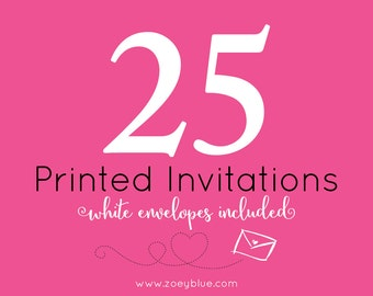 25 Professionally Printed Cards (5x7/4x6) with White Envelopes