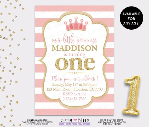 Pink And Gold Princess 1st Birthday Party Fresh Pink And: Pink Gold Princess Birthday Invitation Gold Glitter Little