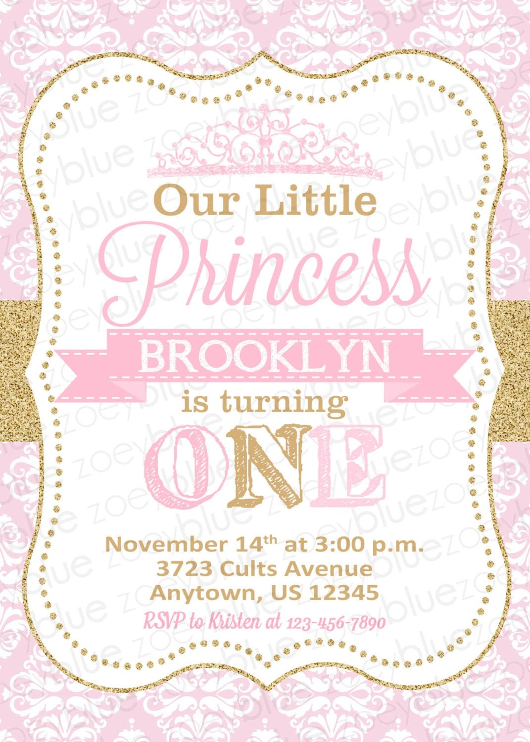 princess birthday invitation princess invitation first birthday princess birthday invitation princess invitation first birthday pink and gold glitter princess invite princess party printable invitation