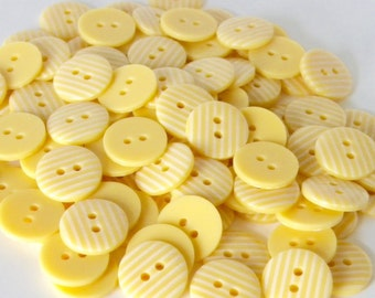 10 x 15mm Pale Lemon Yellow Stripe Buttons