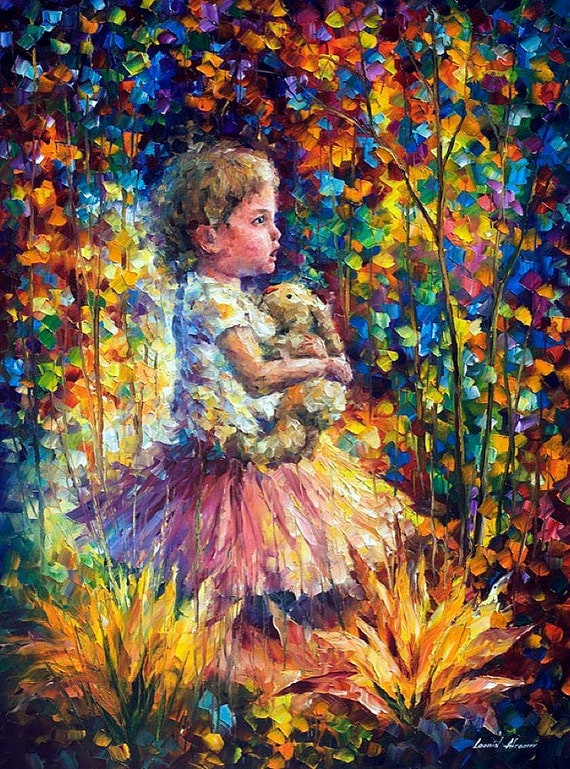 Kid oil painting children wall art on canvas by leonid afremov for Oil painting for kids