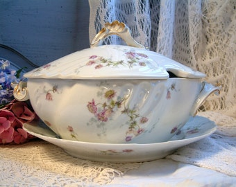 Antique french Limoges violet flower soup tureen with under plate. Antique french porcelain flower tureen. French cottage decor.