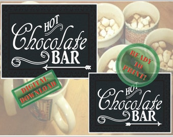 Hot Chocolate Bar Printable Directional Signs Christmas Holiday Party Winter Wedding Buffet Left Right Arrows New Year's Eve Party Decor