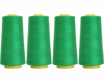 4 Big Cones Dk Grass Green Serger Sewing Thread 2750 Yd Tex 27 40s2 - Threadart