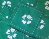 Hand Stenciled Cotton Coasters S/10  4 x 4 inches