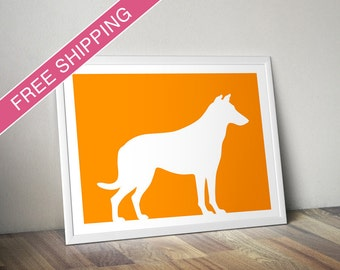 Smooth Collie Print - Smooth Collie Silhouette -  dog art, dog silhouette, dog gift