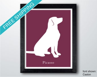 Personalized Labrador Retriever Silhouette Print with Custom Name (version 2) - Labrador art, dog portrait, modern dog home decor